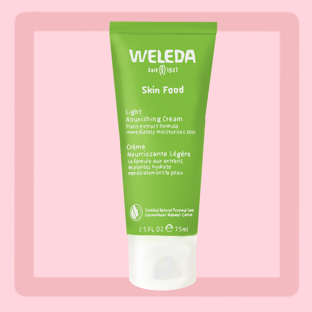 Illustration of Weleda Skin Food Light against pink background. A must-try dupe for La Mer on Amazon